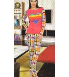 Kalp Baskılı Bayan Pijama Takımı