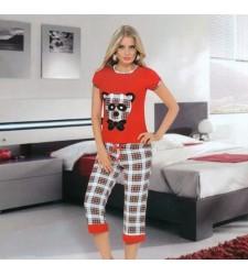Ekoseli Panda Baskılı Bayan Kapri Takım