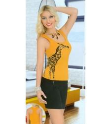 Zürafa Baskılı Bayan Şortlu Takım