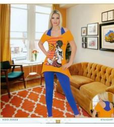 Kız Baskılı Bayan Pijama Takımı